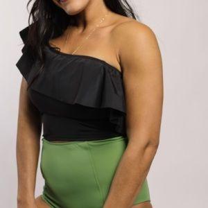 Kortni Jeane ruffled around top bathing suit
